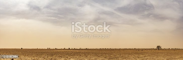 istock Panorama capture of the extreme arid landscape with a massive dust storm on the horizon 1213182884