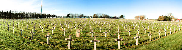 Panorama cemetery  French soldiers from World War 1 stock photo