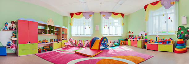 panorama children's playroom. - preschool building stock pictures, royalty-free photos & images
