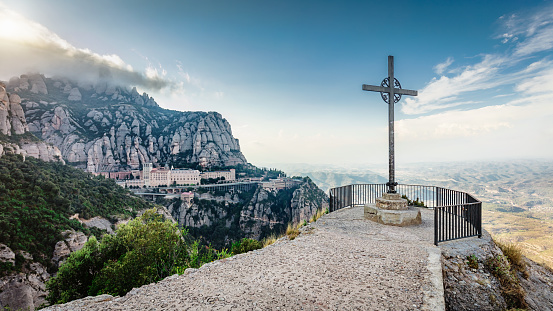 Panorama Christian Cross View Montserrat Monastery Catalonia Spain