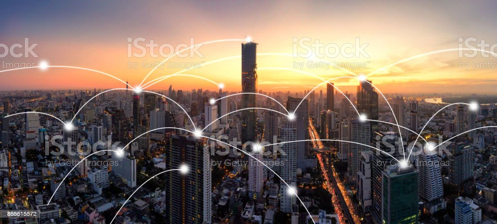 Panorama City skyline with network connection concept stock photo