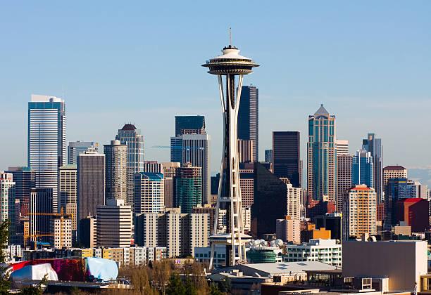Panorama city skyscrapers of Seattle of Washington stock photo