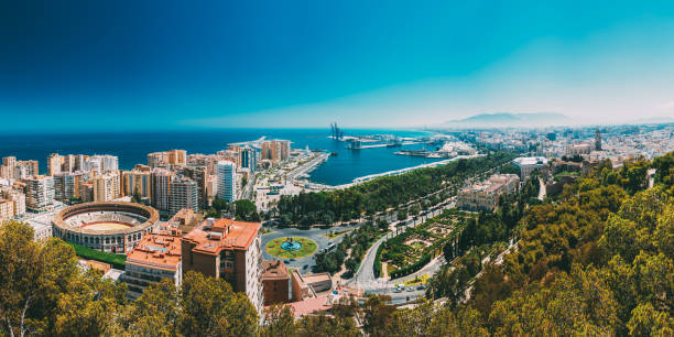 Panorama cityscape aerial view of Malaga, Spain. stock photo