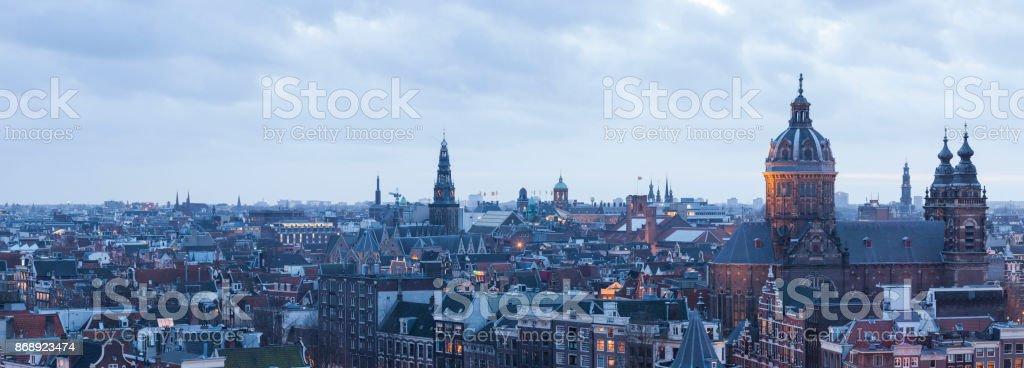 Panorama cityscape at twilight of Amsterdam stock photo