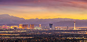 Panorama cityscape view of Las Vegas at sunset in Nevada, United States of America