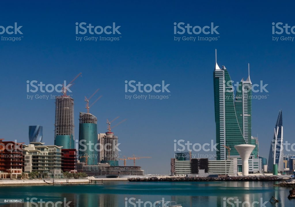 panorama cityscape wiew to Manama city, Bahrain stock photo
