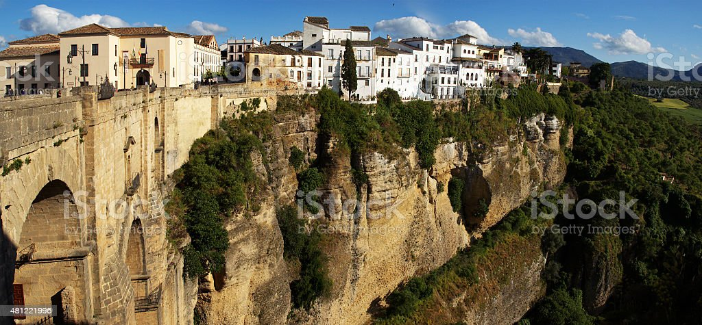 Panorama cliffs of Ronda, new bridge and houses, Andalusia, Spain stock photo