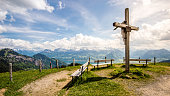 Panorama; Cross with three benches on the Rigi, near Kaltbad, Lake Lucerne, Switzerland, Europe