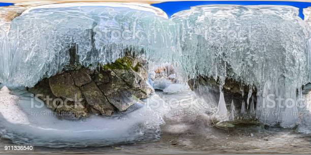 Panorama dawn in an ice cave with icicles on baikal olk picture id911336540?b=1&k=6&m=911336540&s=612x612&h=m3zfp1lolro6d8zozej36kbp 3eocivbop89t8v4bfg=