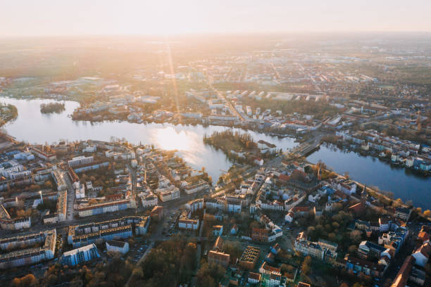 panorama drone photo of the old city Kopenick Berlin at sunrise stock photo