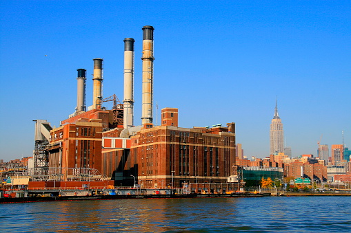 NY panorama: Empire State and Industrial building, East River, NY, USA.