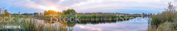 Photo of Panorama Evening or sunrise on a quiet forest lake