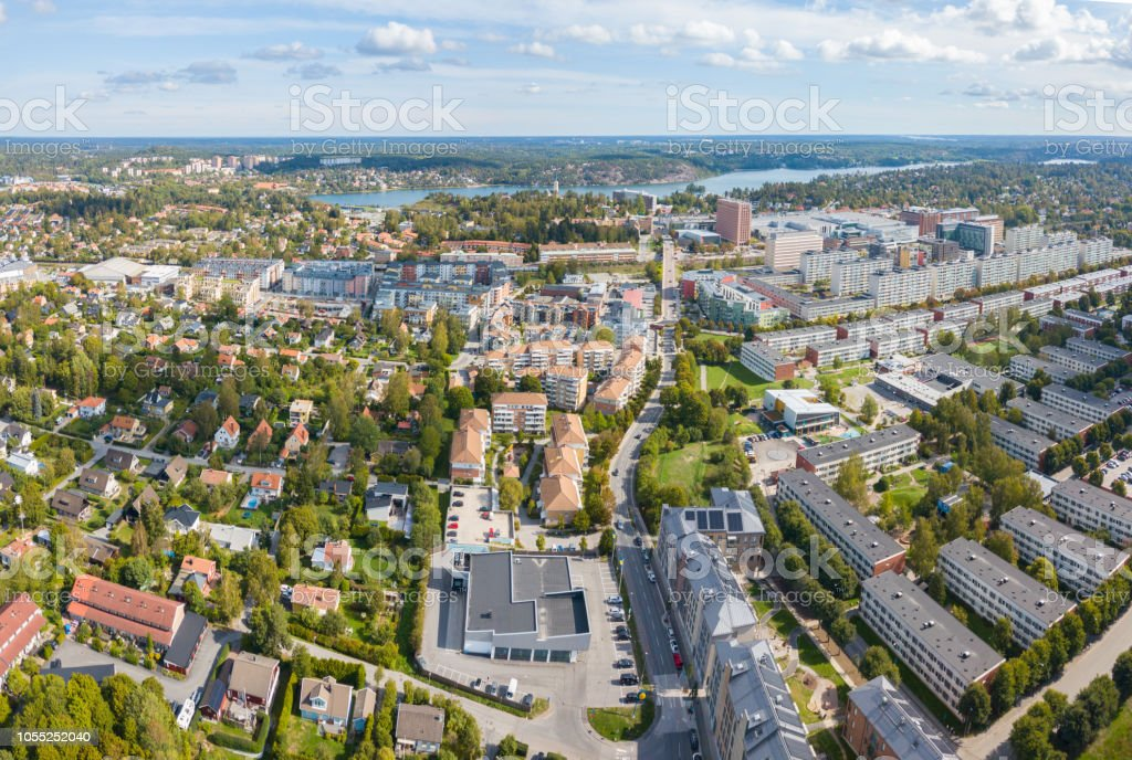 Panorama, flying over city, apartments and villas, Sollentuna, Stockholm stock photo