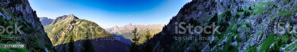 Panorama - French Alps - Massif of belledonne - Royalty-free 360-Degree View Stock Photo