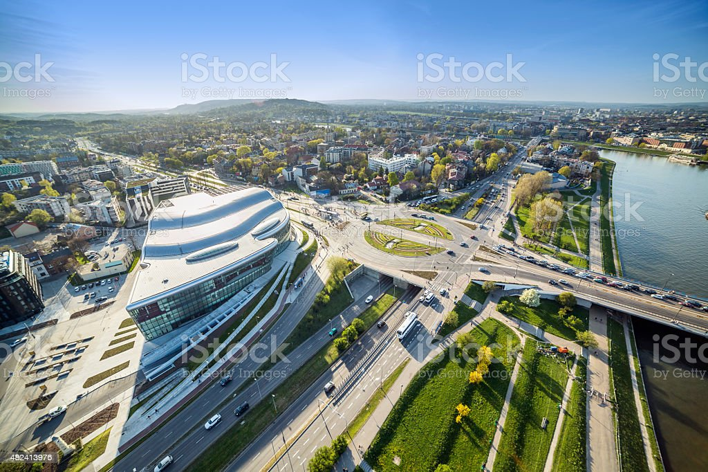 Panorama from above of modern Krakow stock photo
