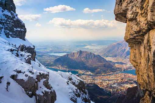 Panoramic view over the valleys of como and lecco city