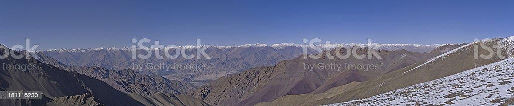 Panorama from Base Camp Stok Kangri stock photo