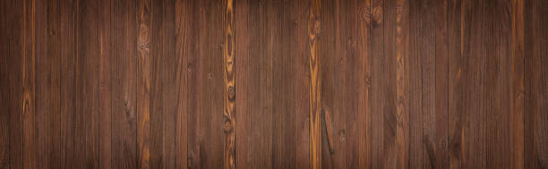 Panorama from brown wooden planks, wood table background stock photo
