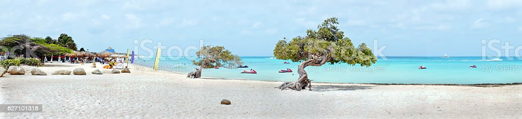 Panorama from eagle beach on Aruba island in the Caribbean stock photo