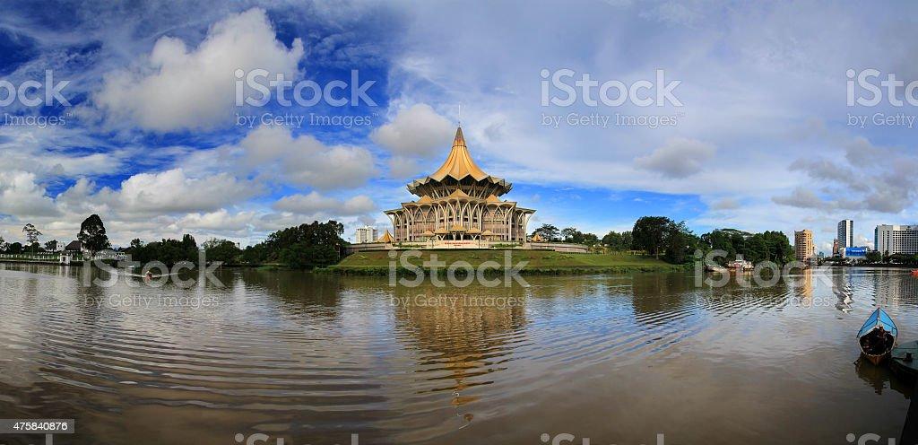 Panorama From Kuching Waterfront, Sarawak stock photo