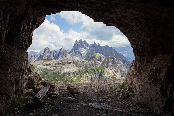 Panorama from man-made caves, Dolomites, Italy. stock photo