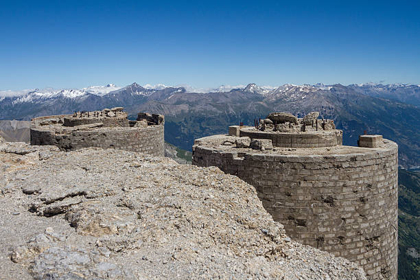 panorama from Mont Chaberton with ruined artillery stock photo