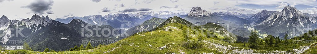 Panorama from Monte Rite, Dolomites, Alps, Italy stock photo