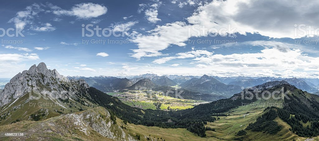 panorama from mountain hahnenkamm with view to reutte stock photo