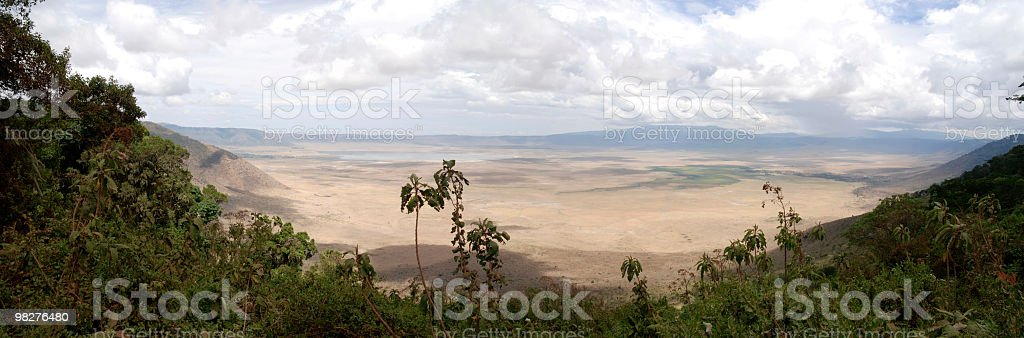 XXL panorama from Ngorongoro Crater, Tanzania, East Africa royalty-free stock photo