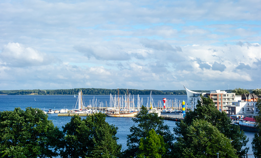 Panorama from the harbor in Eckernförde with ships at blue sky