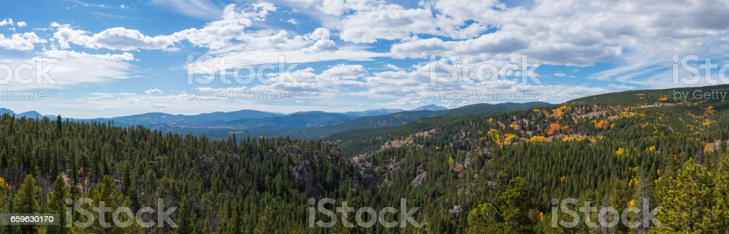 Panorama from the Rocky Mountains in Colorado stock photo