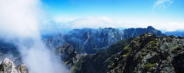 Panorama from  top Świnica in Polish Tatras stock photo