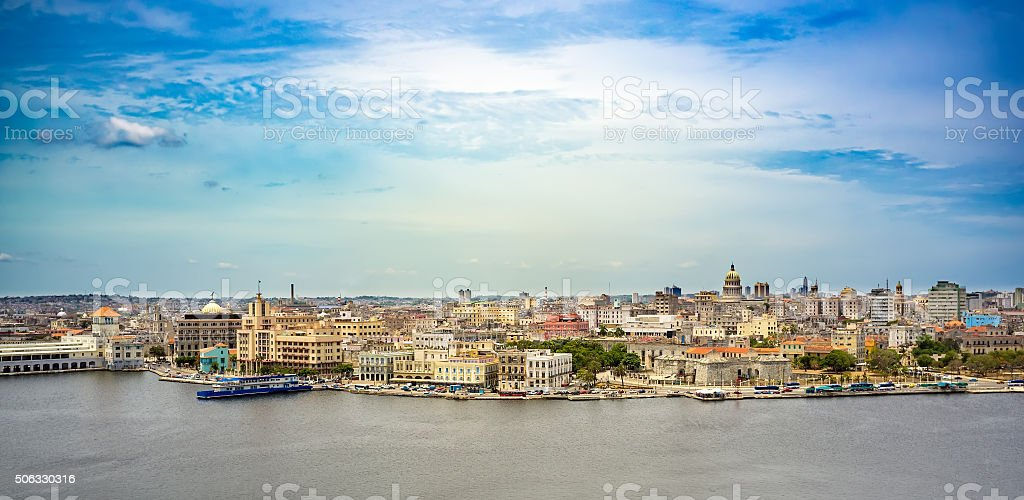 Panorama General view of Old Havana stock photo