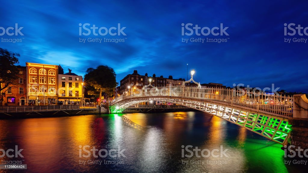 Panorama Ha'penny Bridge at Night Ireland stock photo