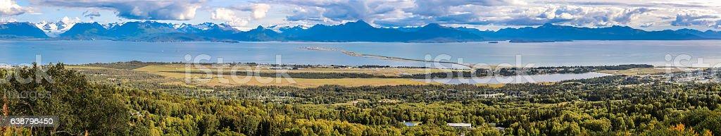 Panorama Homer Spit, Kachemak Bay, Alaska stock photo
