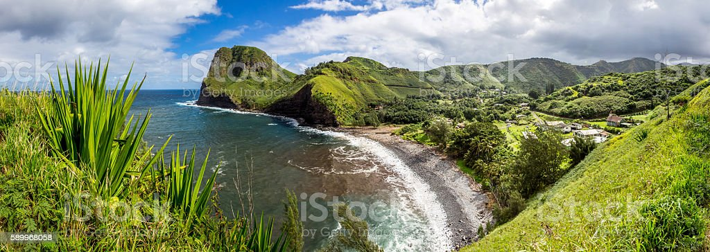 Panorama image of a Hawaiian beach stock photo