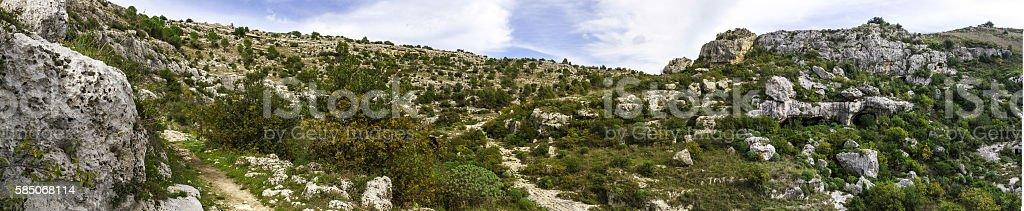 Panorama image of Pantalica Necropolis stock photo