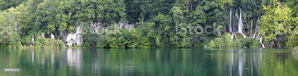 Panorama image of waterfall in Plitvice lake (Plitvicka jezera) royalty-free stock photo