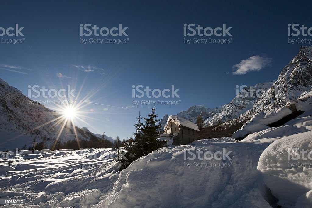 Panorama in  Val Ferret Courmayeur, Aosta Valley, Italy stock photo
