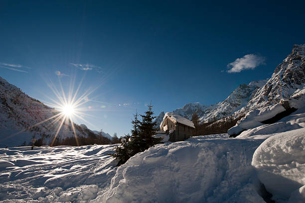 Panorama in  Val Ferret Courmayeur, Aosta Valley, Italy圖像檔