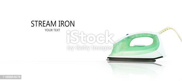 868537890 istock photo Panorama iron steam on white background. Modern iron that looks clean. 1185654576