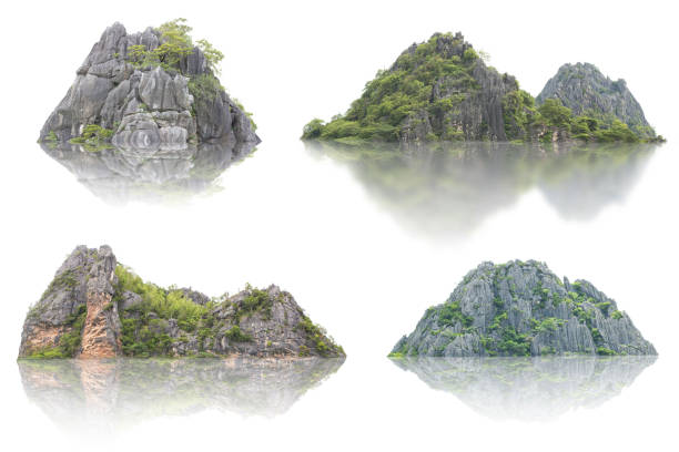 Panorama island, hill, mountain isolated on a white background. stock photo