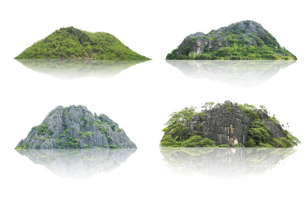 Panorama island, hill, mountain isolated on a white background. The collection of Mountain. stock photo