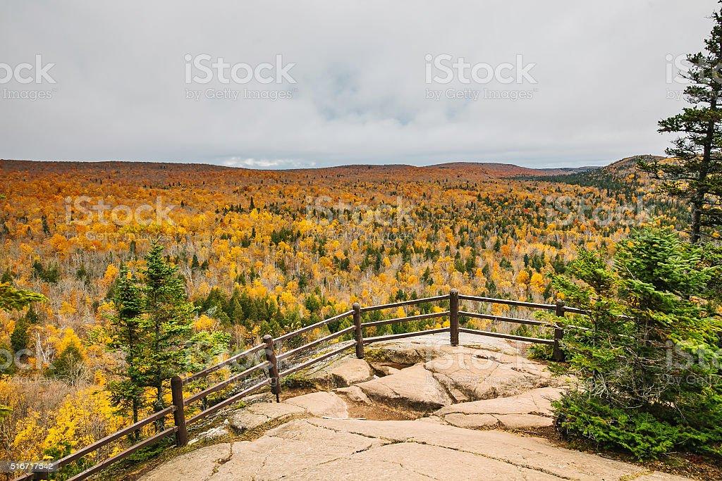 Panorama landscape autumn view near Lake Superior, Minnesota stock photo