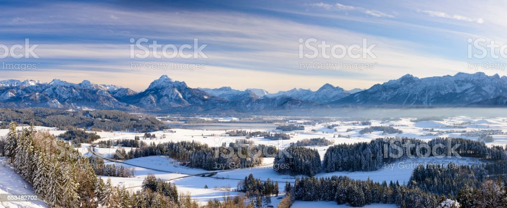 Panorama landscape in Bavaria, Germany, with alps mountains at winter stock photo