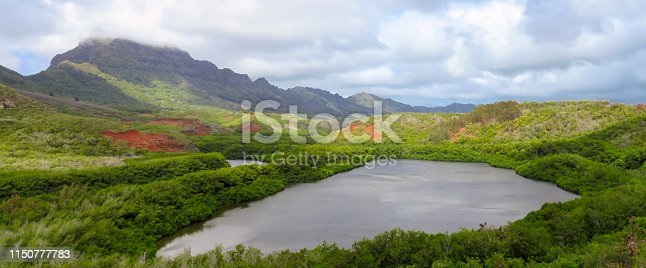 Panoramic view of Menehune fish pond aka Alekoko Fishpond on a bright summer day, mountains in the background, near Lihue, Kauai, Hawaii, United States