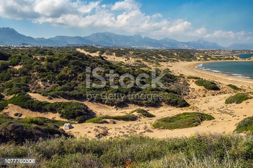 istock Panorama landscape of Northern Cyprus coastline with small tent 1077760306