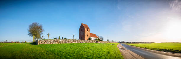 Panorama landscape with a church stock photo