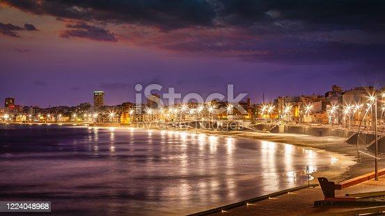 istock Panorama Las Palmas de Gran Canaria Beach at Night Grand Canary Island 1224048968