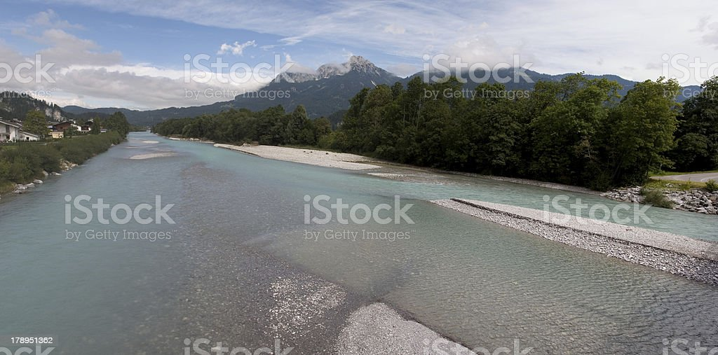 Panorama Lech river with Säuling mountain stock photo